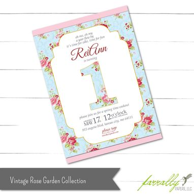 Custom Made Vintage Rose Garden Birthday Invitation For Numbered Birthday