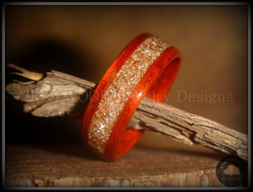 Custom Made Padauk Wood Ring With Silver & Bronze Glass Inlay