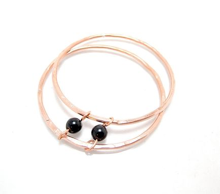 Custom Made Onyx Copper Bangle - Simple Bangle Set - Black Bead Copper - Set Of 2 Bangles