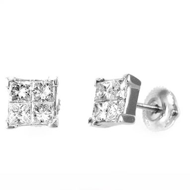 Custom Made Princess Diamonds Stud Earrings In 14k White Gold, Princess Diamonds, Stud Earrings