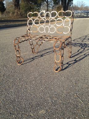 Custom Made Horseshoe Bench Entirely Made From Used Horseshoes