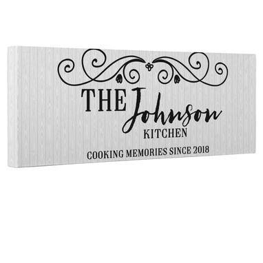 Custom Made Cooking Memories Sign Canvas Wall Art