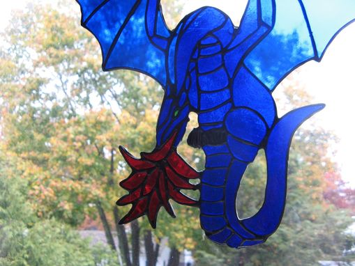 Custom Made Stained Glass Fire Breathing Dragon