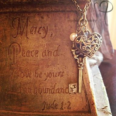 Custom Made Love Is The Key ~ Brass Charm Necklace