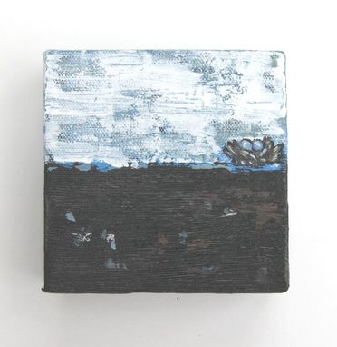 Custom Made Sale Black Acrylic Abstract Painting On Small Canvas Brown Landscape