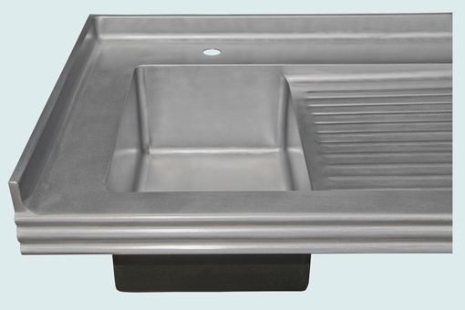 Zinc Sink With Backsplash Ribbed Drainboard
