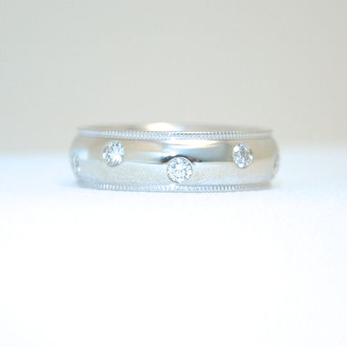 Custom Made Classic Wedding Band White Gold And Diamonds