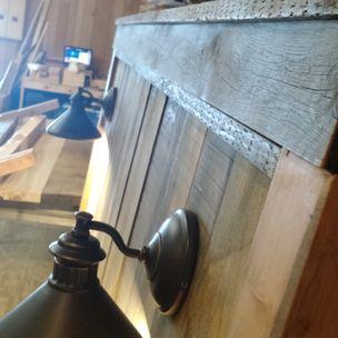 Barnwood Headboard With Lights Reclaimed By