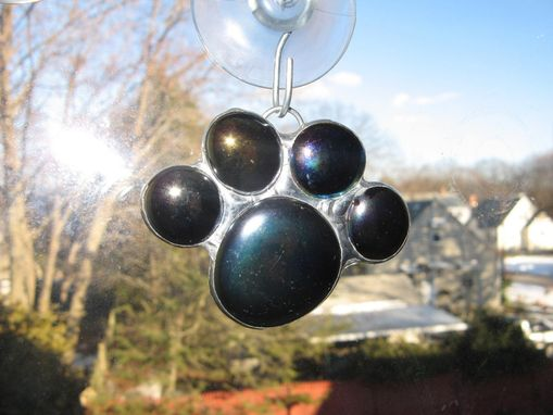 Custom Made Stained Glass Paw Print Sun Catcher