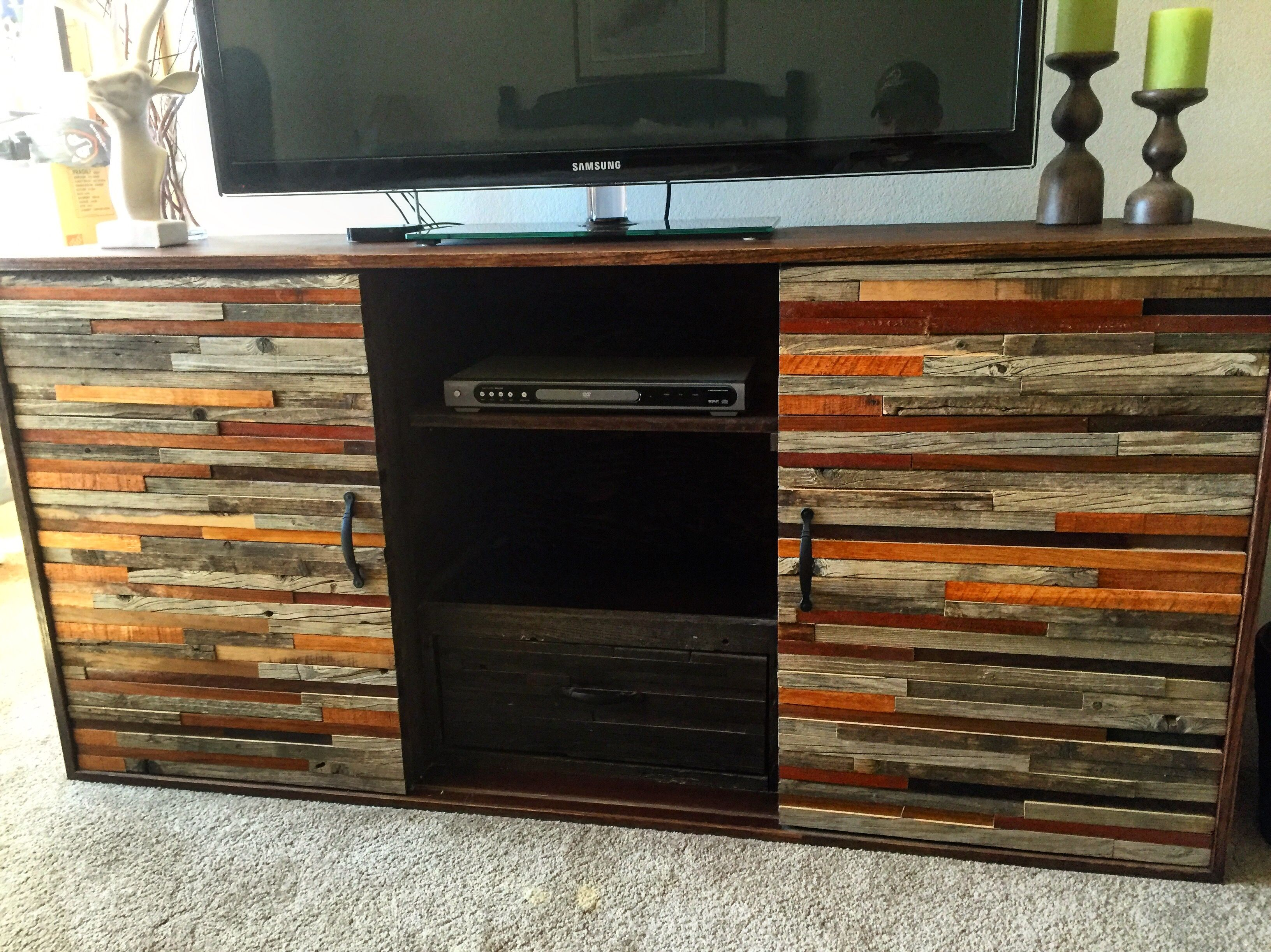 Custom Made Barnwood Mahogany Entertainment Center
