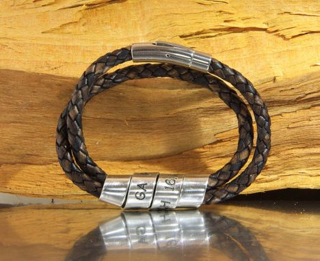 Custom Made Men's Personalized Brown Double Wrap Bracelet, Custom Engraved Bracelet