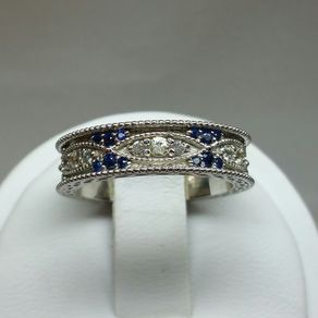 vintage art deco wedding band with natural white and blue sapphires by jasmeen kaur - Art Deco Wedding Rings