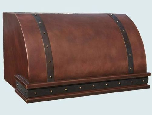 Custom Made Copper Range Hood With Dark Brass Straps & Inset Band