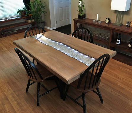 Custom Made Starlight Glowing River Dining Table - White Oak