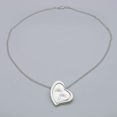Custom Made Personalized Silver Signature Heart Necklace With Your Actual Hanwriting