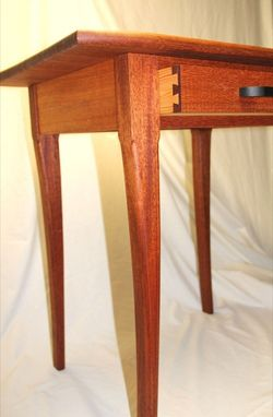 Custom Made Mahogany Table With Hand-Cut Dovetailed Drawer And Ebony Pull