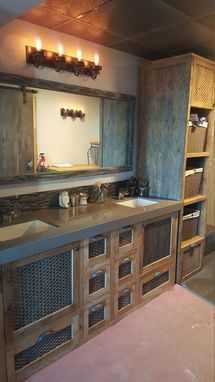 Custom Made Reclaimed Barn Wood And Metal Industrial Double Vanity