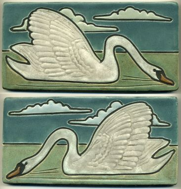 Custom Made Graceful Swan Tiles - Matching Pair