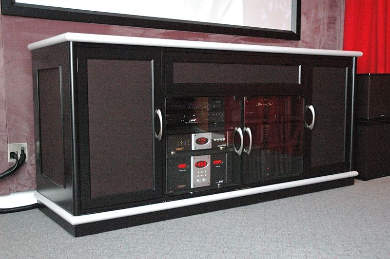 Hand Crafted Custom Made Black Entertainment Center With Modern Styling For Home Theater By