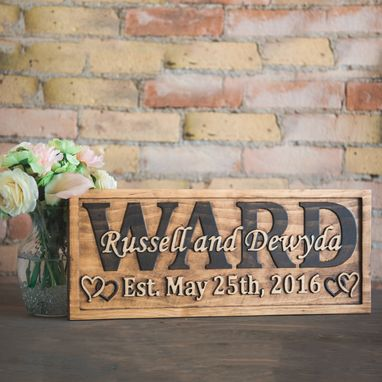 Custom Made Anniversary Sign Family Name Sign Last Name Sign Wood Sign Carved Wood Sign Rustic Decor