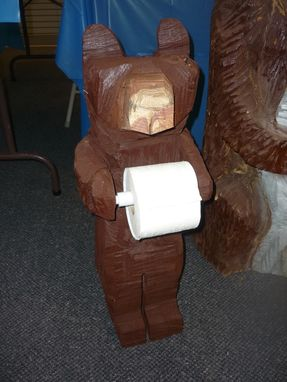 Custom Made Chainsaw Carved Bear Toilet Paper Holder