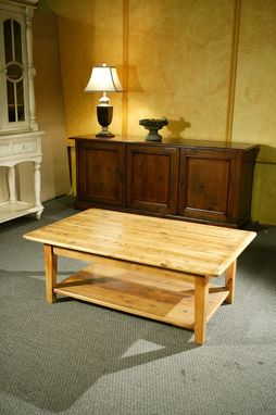 Custom Made Wood Coffee Tables With Shelf And Straight Legs