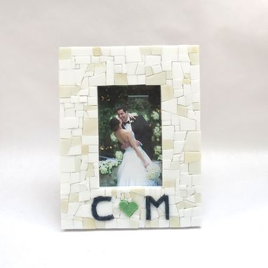 Custom Made Mosaic Couple's Picture Frame With Green Heart & Initials
