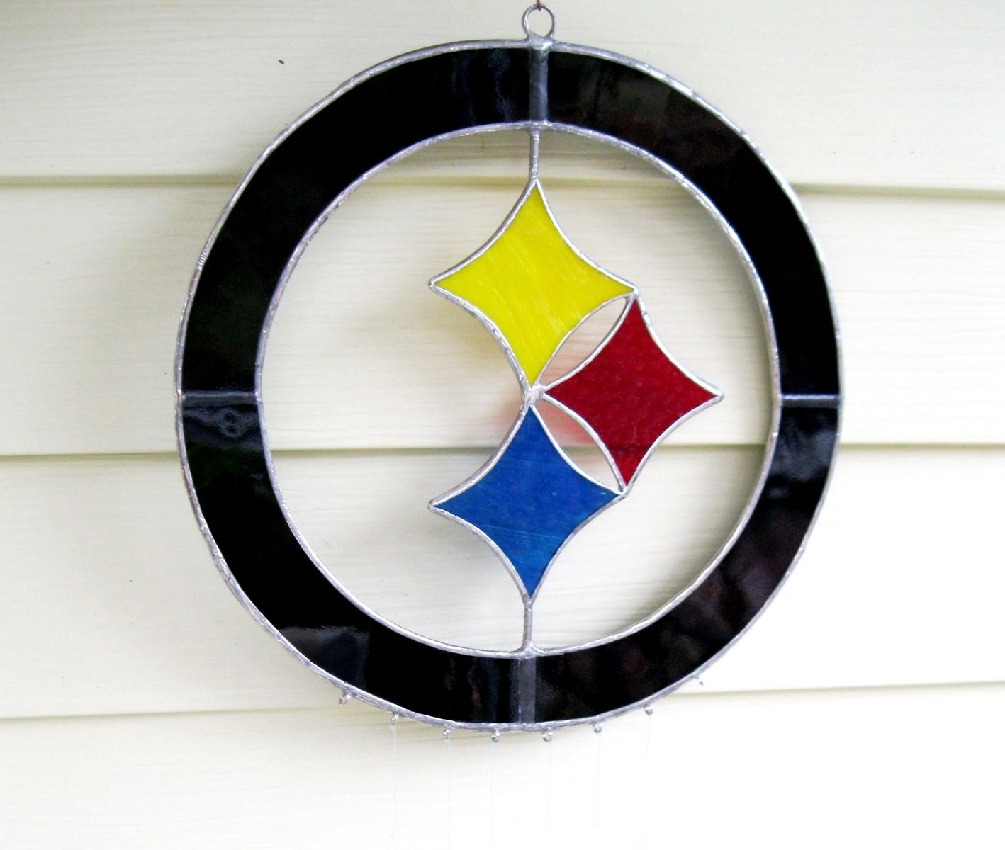 Hand Made Steelers Custom Stained Glass Sun Catcher- With 6 Super ...