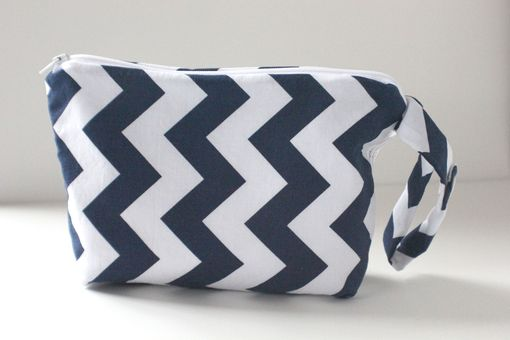 Custom Made Large Gusseted Messy Bags (Snack Bags) - Navy Chevrons