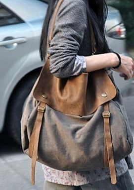 Custom Made Brown Canvas And Leather Messenger