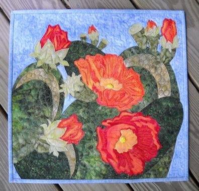 Custom Made Desert Flowers In Bloom Quilted Wall Hanging