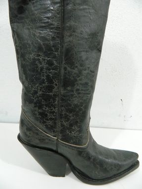Custom Made 22 Inch Tall Cowboy Boots With 4 Inch Extreme Slanted Heels New Sharp Toe Style
