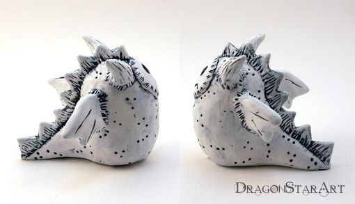 Custom Made White Dragon Figurine Clay Sculpture Galileo