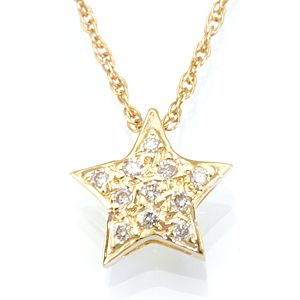 Custom Made Diamond Star Pendant In 14k Yellow Gold, Star Pendant, Ladies Pendant