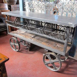 Iron Trolley Cart Console Table By