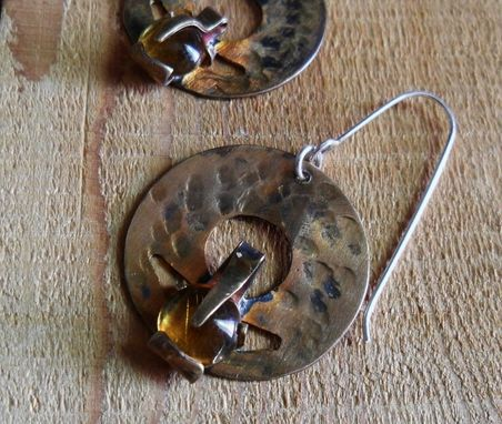 Custom Made Hammered Brass And Citrine-Colored Glass Earrings