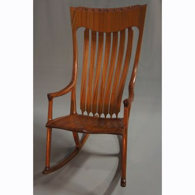 Custom Made Jos. Lamerton Rocking Chair (Sapele With Walnut Accents And Walnut Pins)