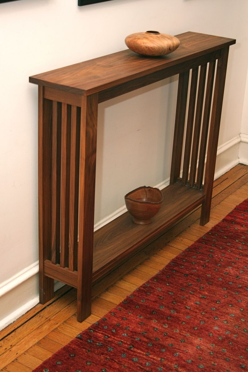 Foyer Hallway Table : Hand made walnut hall table by fredric blum design
