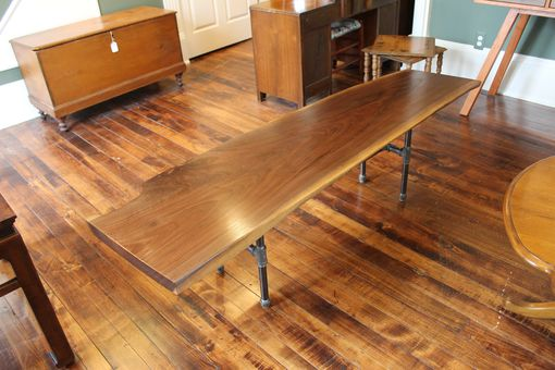 Custom Made Industrial Walnut Slab Table