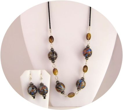 Custom Made Exotic Blue Fern Washi Bead Necklace And Earrings Set
