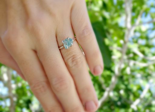 Custom Made Raw Stone Engagement Ring, Rough Crystal Ring Silver, Raw Apatite Ring, Rough Garnet Ring