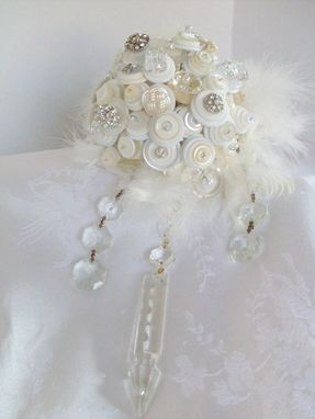 Custom Made Cream And White Crystals And Buttons Bridal Bouquet