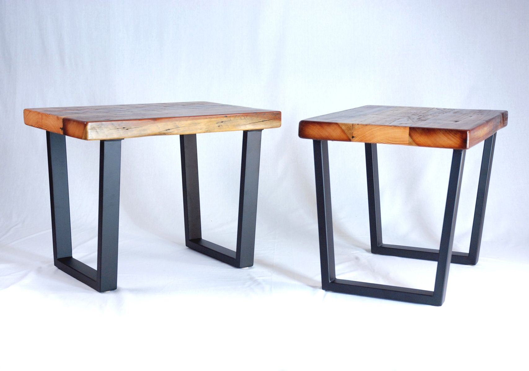 Custom Industrial Reclaimed Timber End Table Set by Jonathan