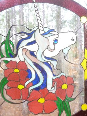 Custom Made Unicorn Stained Glass Hanging Panel