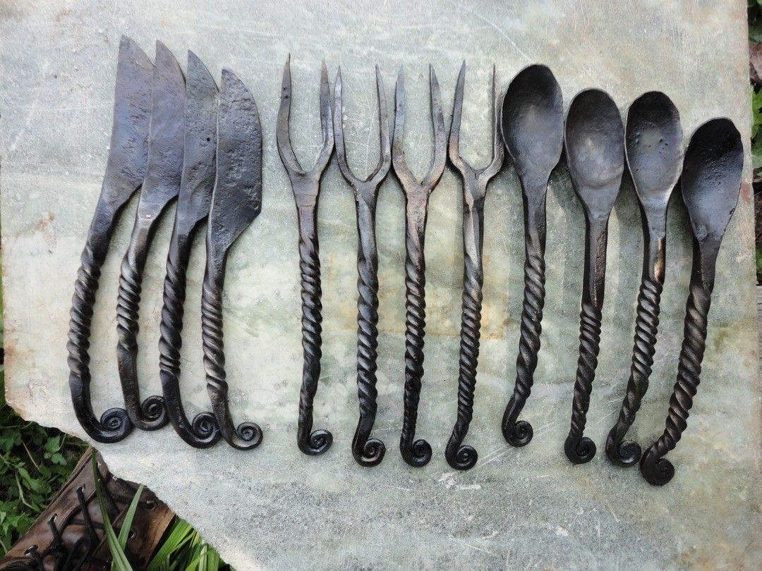 Custom medieval cutlery by the black toad forge - Medieval silverware ...