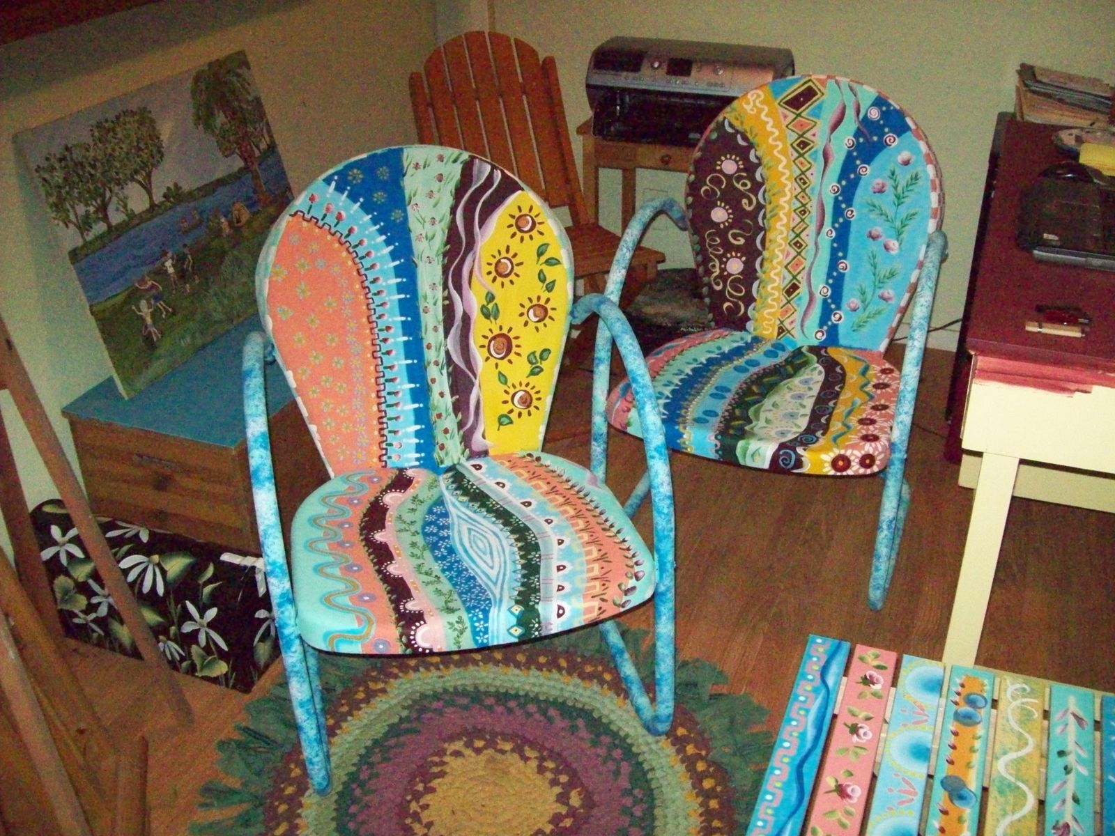 Handmade Bastrop Gardens Multi Colored Metal Yard Chair by I Paint