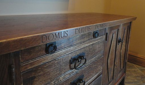 Custom Made Quarter Sawn Oak Credenza With Lettering