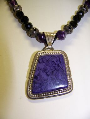 Custom Made Contemporary Necklace, Charoite Sterling Pendant From Russia,Bali Silver,Amethyst,Onyx,Toggle Clasp