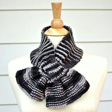 Custom Made Knit Scarf - Scarflette - Keyhole Scarf Gray Grey Unique Warm