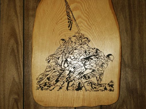 Custom Made Uncommon Valor Woodcraving On A Slab Of Ash